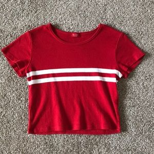 Brandy Melville Striped Red Short Sleeve